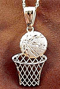 Basketball and Hoop Pendant - 10K Yellow Gold (Image1)