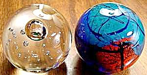 Controlled Bubble Glass Paperweights - Pair + Bonus
