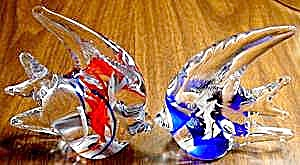Glass Angel Fish Paperweights - Pair + BONUS (Image1)