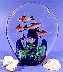 Glass Tropical Fish Paperweight - Paper Weight