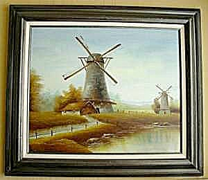 Windmill Scene Oil Painting - Signed (Image1)