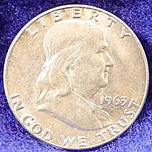 Franklin Silver Half Dollar Coin - 1963-d