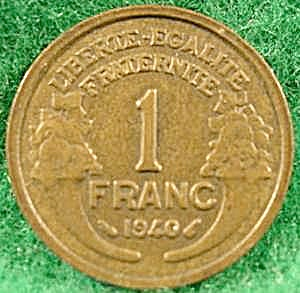 France 1 Franc Coin - 1940 (Image1)