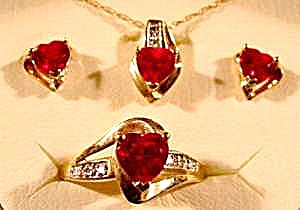 Ruby & Diamond Jewelry Set - Ring - Pendant - Earrings