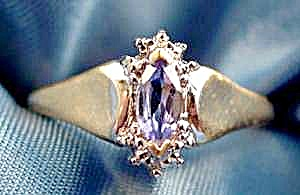 10k White Gold Tanzanite Marquise Ring - Size 7