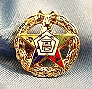 Order of Eastern Star Gold Wash Enameled Pin (Image1)
