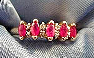 10K Yellow Gold Ruby & Diamond Ring - Size 6 (Image1)