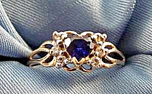 10k Yellow Gold Sapphire Heart Ring With Diamonds -sz 7
