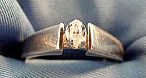 10K White Gold Marquise Diamond Ring - Size 7 (Image1)