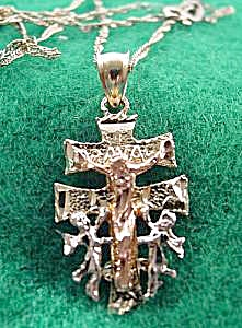 14K Yellow Gold CaraVaca Cross Crucifix - 20 in. Chain (Image1)