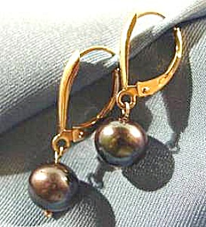 10k Yellow Gold Black Pearl Earrings - Pierced