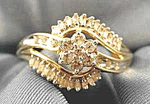 10K Y.G. Diamond Right Hand Ring with Baguettes -Size 7 (Image1)