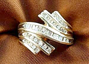 Channel Set Diamond Baguette Ring - 10K Y.G. Size 7 (Image1)