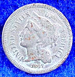 Nickel Three Cent Piece Coin - 1867