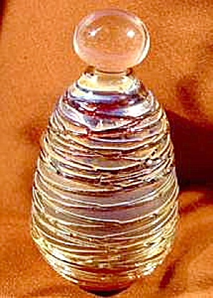 Amber Blown Glass Perfume Bottle & Dauber - Iridized