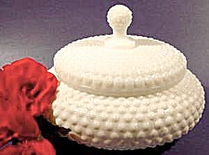 Hobnail Milk Glass Powder Box - Vintage (Image1)