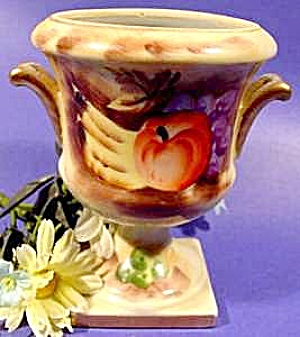 Hand Painted Urn With Gold Trim - Enesco - Vintage