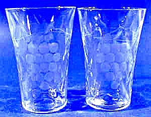 Antique Whiskey Glasses ~ Grape & Diamond Optic ~ Pair (Image1)