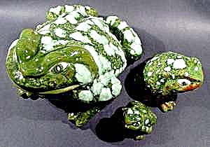 Ceramic Frog Family ~ Set of 3 ~ Great Detail (Image1)