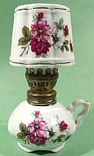 Miniature Porcelain Oil Lamp With Roses