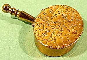 Embossed Goldtone Purse Ashtray - Silent Butler Style