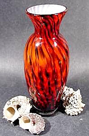 Cased Glass Vase - Spiral Red & Black & White Opal