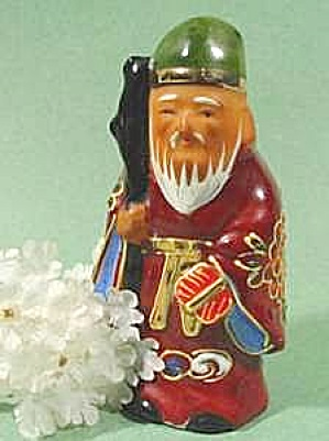 Oriental Figurine Moriage Hand Painted Man - Colorful