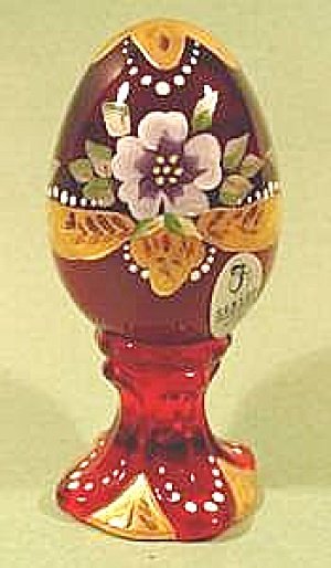 Fenton Limited Edition Red Glass Egg On Pedestal