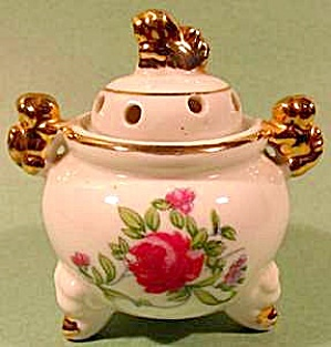 Oriental Censer Incense Burner ~ Roses & Fu Dogs (Image1)