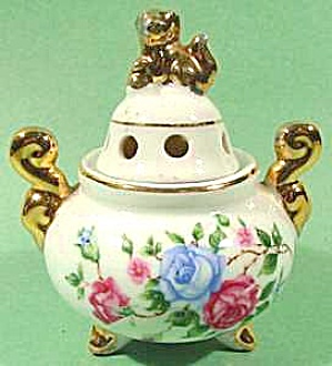 Oriental Incense Burner Censer - Roses & Fu Dogs (Image1)