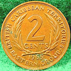 British Caribbean Territories 2 Cent Coin - 1965 (Image1)