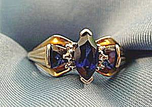 Blue Sapphire and Diamond Ring - 10K  Y.G.- Size 6.5 (Image1)