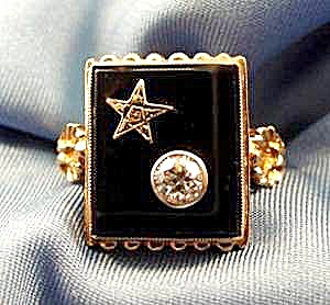10K Y.G. Black Onyx Diamond Ring Order of Eastern Star (Image1)
