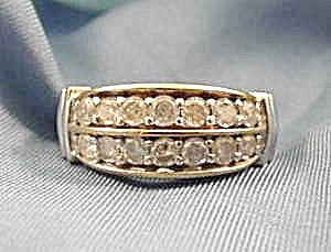 10K Y.G. Double Row Diamond Band Ring - Size 8 (Image1)
