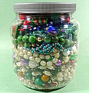 Large Jar of Craft Jewelry - Some Wearable - 2.5 Pounds (Image1)