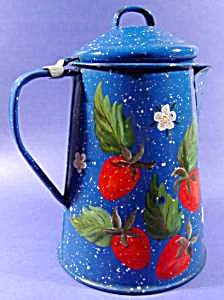 Graniteware Handpainted Coffee Pot - Strawberries  (Image1)