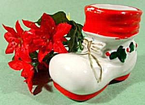 Ceramic Christmas Holiday Shoe Boot - Hand Painted (Image1)
