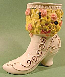 Hand Painted Ceramic Shoe Boot Vase - Signed