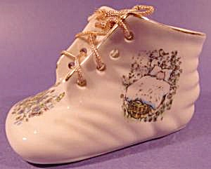 Baby Shoe - Porcelain - Floral Decal - Vintage