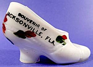 Milk Glass Shoe - Souvenir Jacksonville Florida