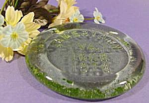 Jamestown, Va Green Glass Paperweight - 1608-1976 (Image1)