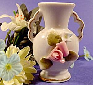 Miniature Porcelain Vase - Applied Floral - Gold Trim (Image1)