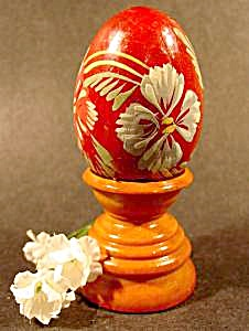 Hand Painted Wooden Egg With Pedestal Base