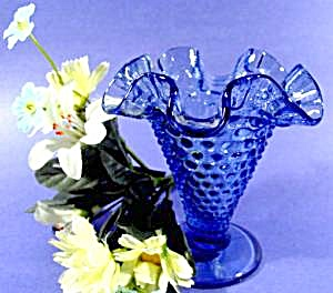 Blue Hobnail Glass Ruffled Rim Vase - Fenton