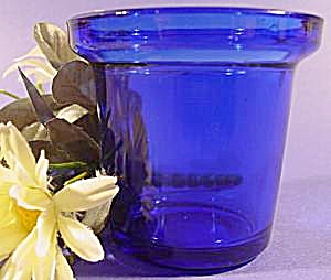 Cobalt Blue Glass Candle Holder - Pair