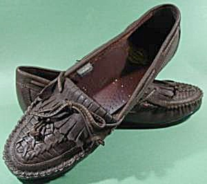 Brown Leather Moccasin Loafer Shoes - Size 10W (Image1)