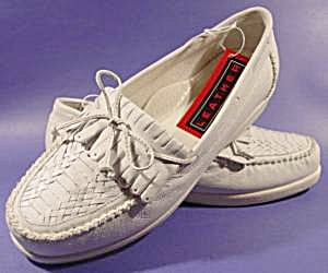 White Leather Moccasin Loafer Shoes - Size 10W (Image1)