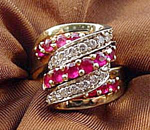 Diamond and Ruby Designer Ring - Size 9 - 14K  Y.G. (Image1)