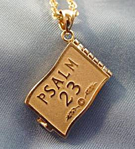 14K Yellow Gold 23rd Psalm Pendant - 6 Pages  (Image1)