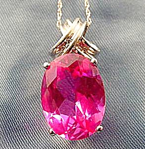 10k W.g. Pink Tourmaline Oval Pendant - 18 In. Chain